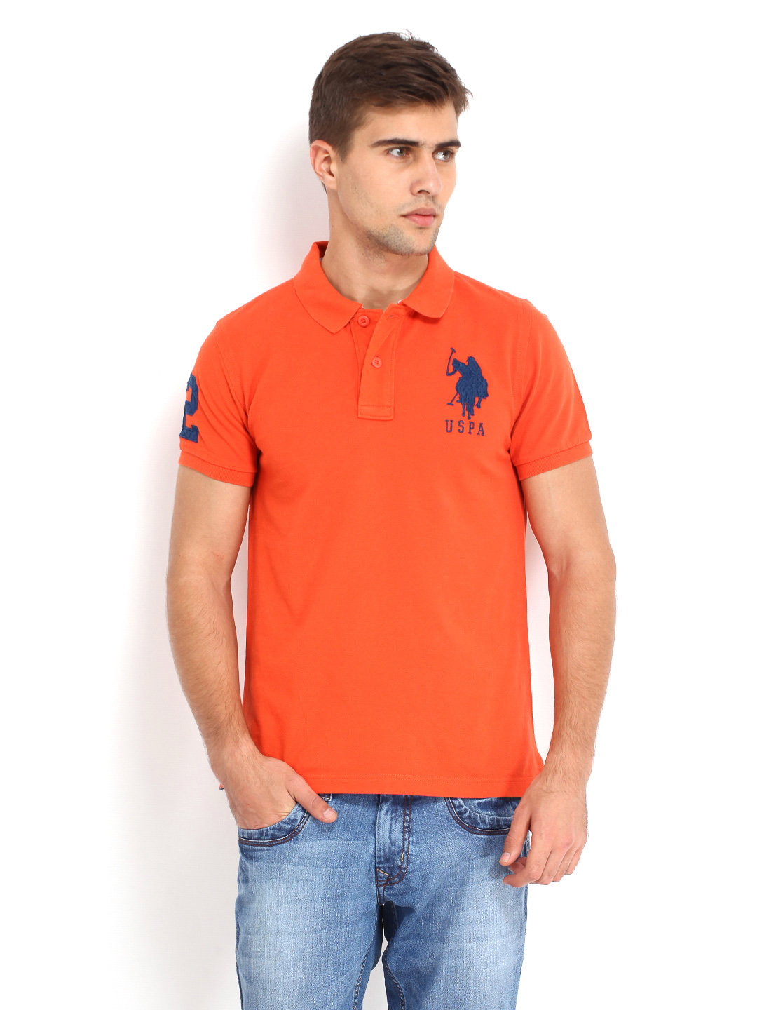 U s polo cotton orange polo t shirt g3 mts5373 for Us polo shirts for mens