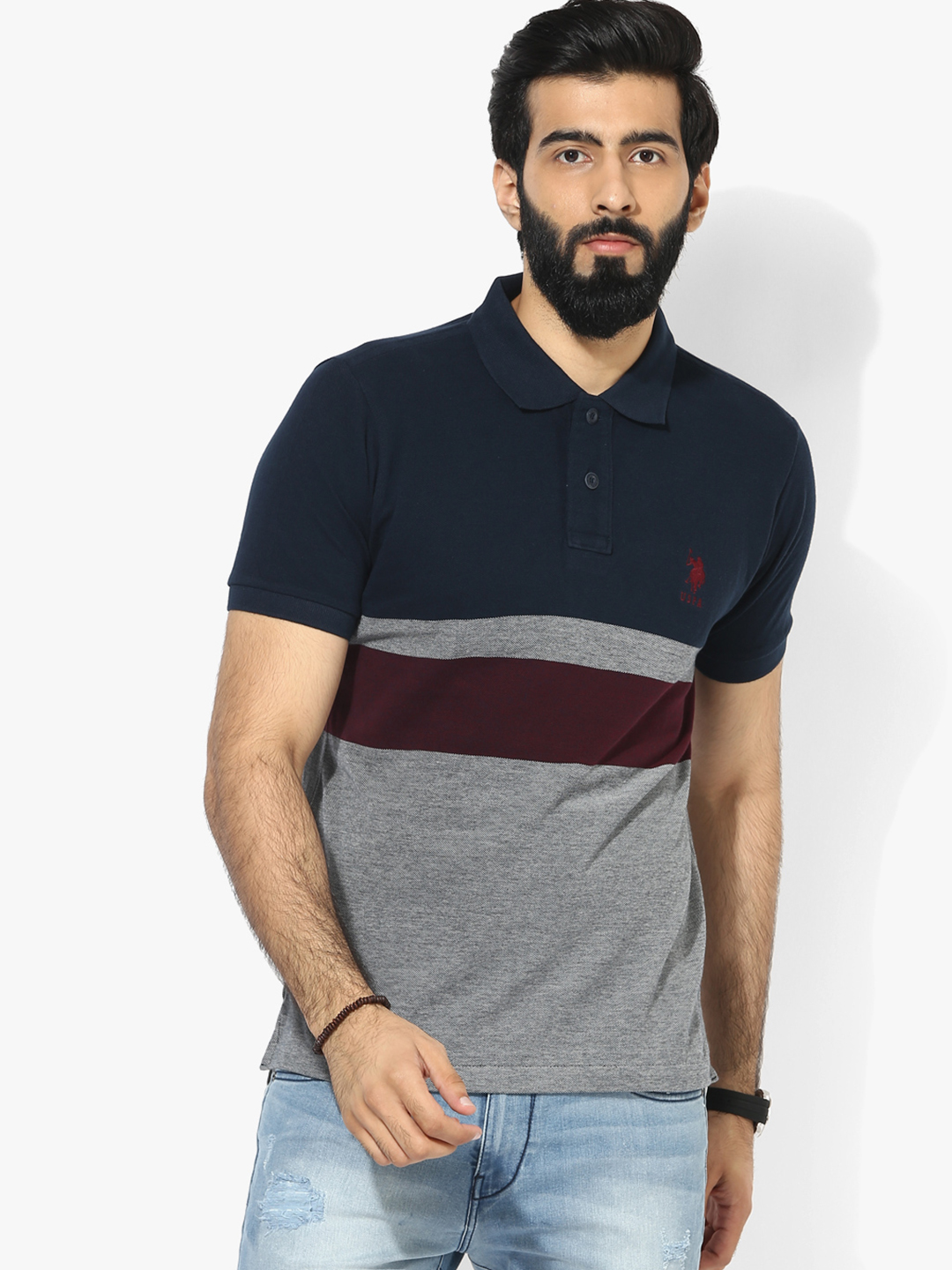 U s polo navy grey cotton slim fit t shirt g3 mts5220 for Navy slim fit shirt