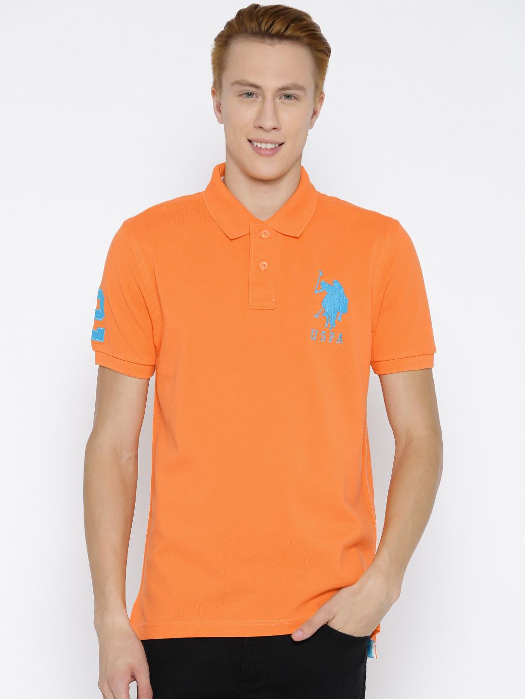 U S Polo Orange Cotton Polo T Shirt G3 Mts5367