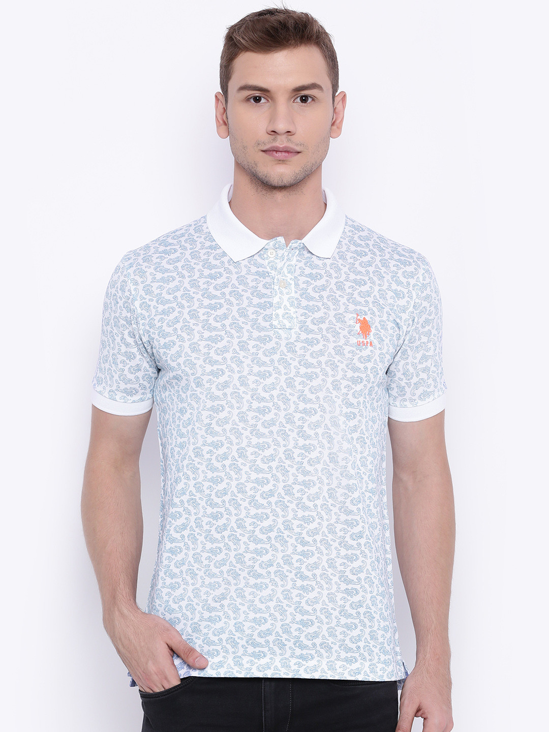 U s polo white printed smart polo t shirt g3 mts4786 for Printed shirts for men