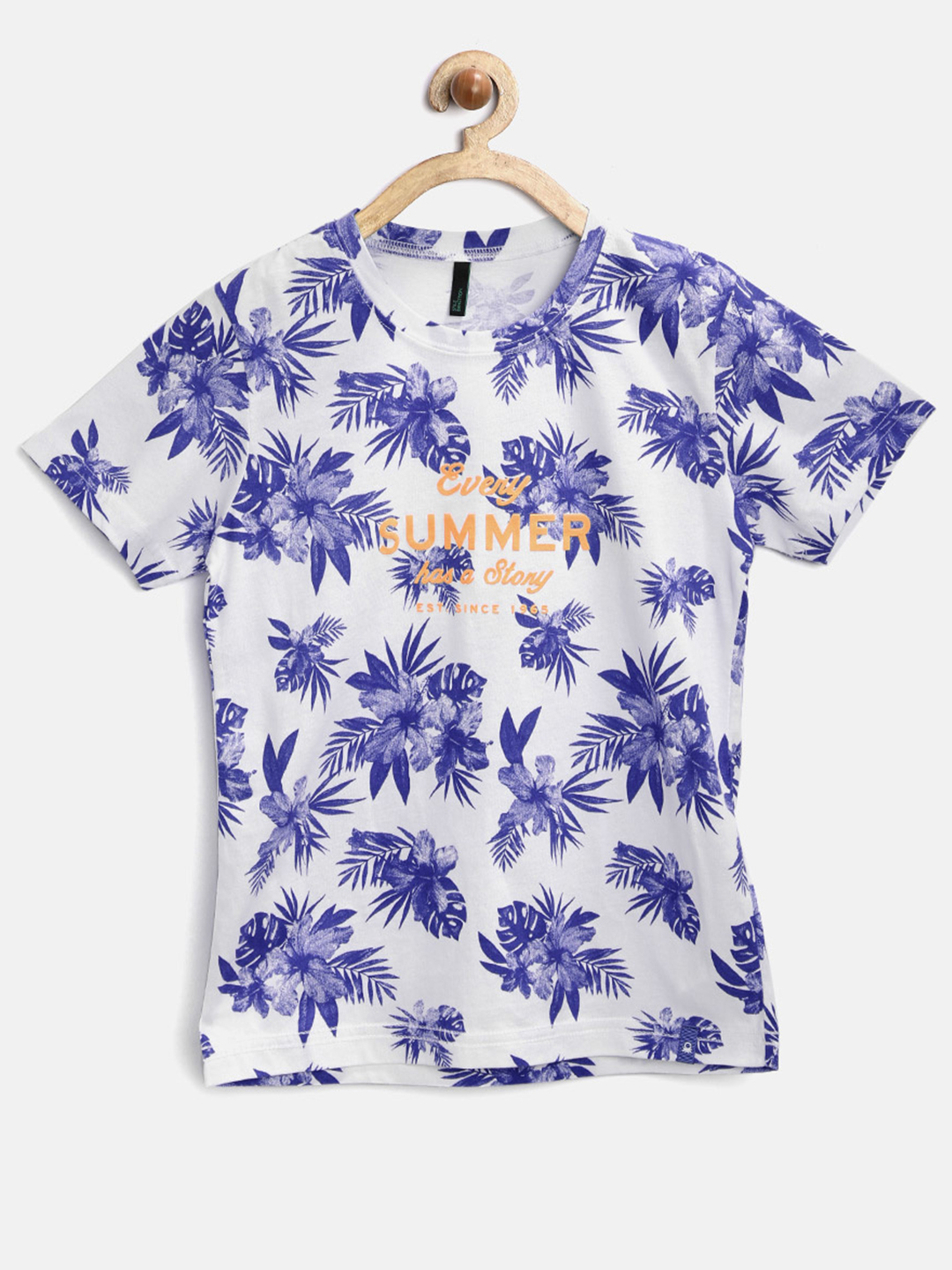 Ucb Cotton White Printed Casual Wear Boys T Shirt G3