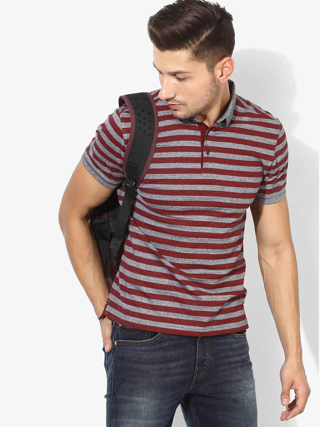 Levis maroon and grey cotton polo t shirt g3 mts5366 for Maroon t shirt for men