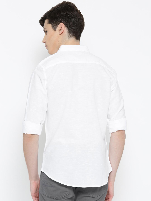 Ucb white color plain slim fit cotton shirt g3 mcs4071 for Slim fit cotton shirts