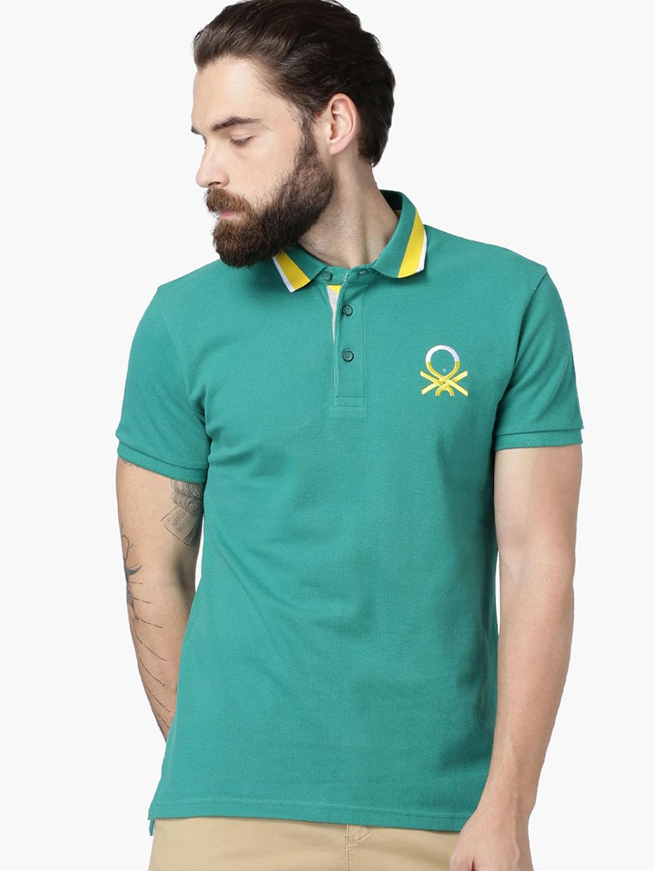 United color of benetton aqua grren casual t shirt g3 for Aqua blue color t shirt