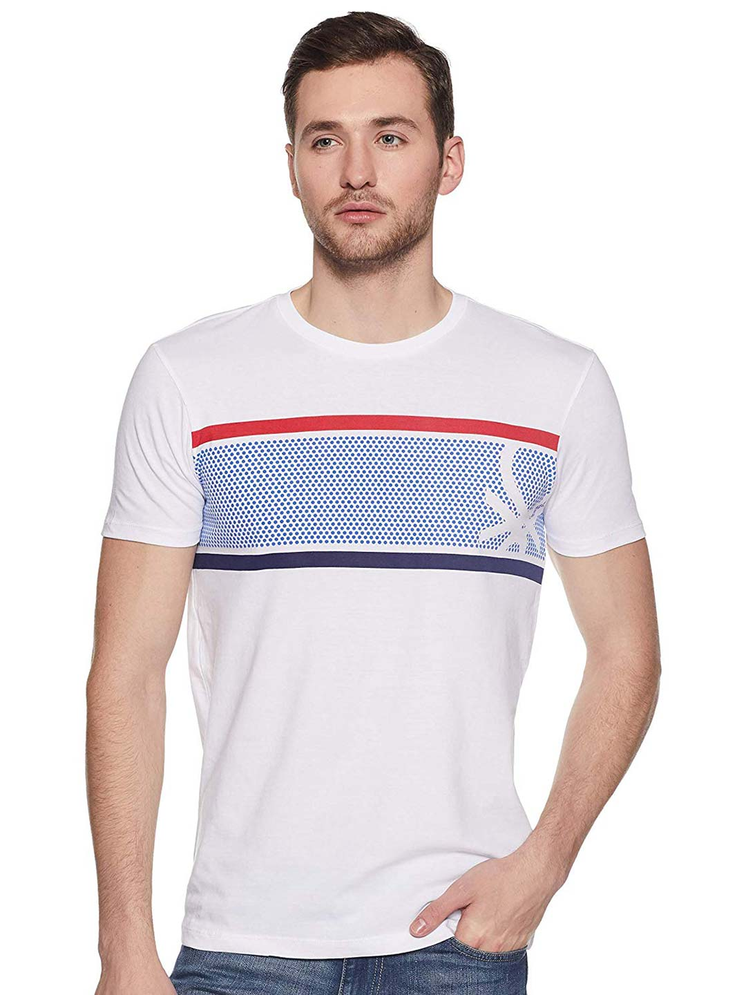 ac0f1e75d2 United Colors of Benetton printed white hue t-shirt - G3-MTS8173 ...