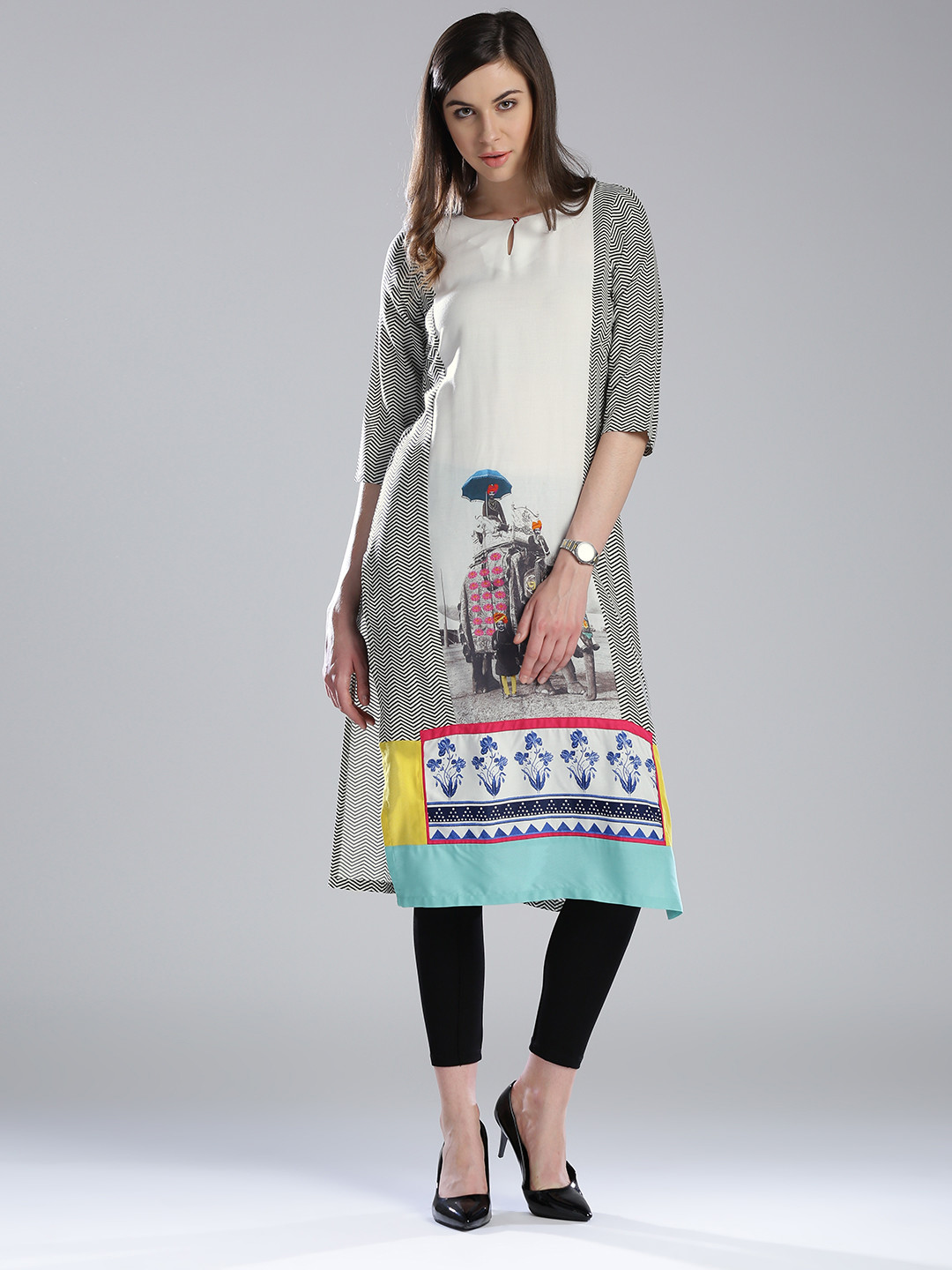 W Printed White Cotton Casual Wear Kurti - G3-WKU0066 | G3fashion.com