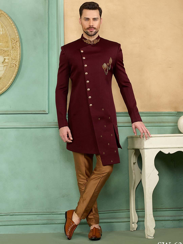 Wine color wedding function solid indo